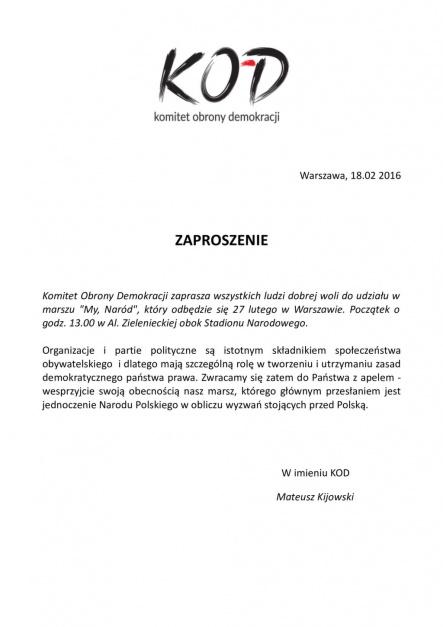 Zaproszenie organizacji wystosowane także do członków partii politycznych, źródło: komitetobronydemokracji.pl