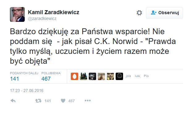 Zaradkiewicz podziękował za słowa wsparcia na Twitterze, źródło: twitter.com/zaradkiewicz