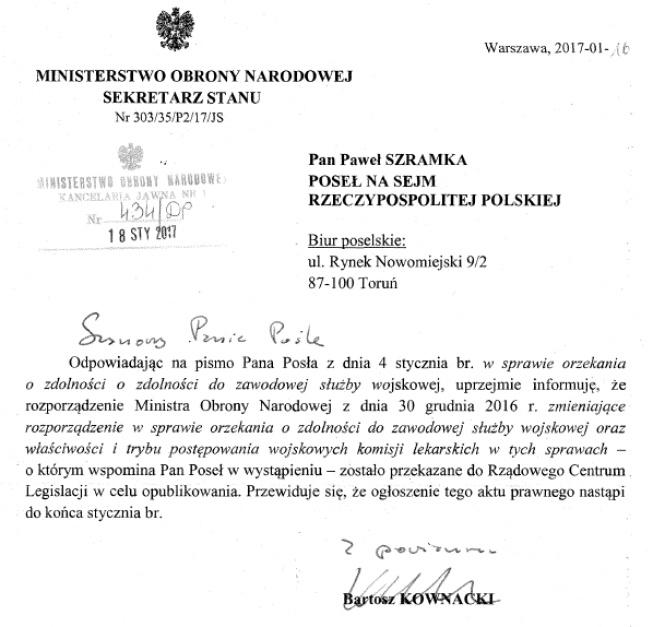 Kukiz15 Paweł Szramka Dostał Odpowiedź Z Mon W Sprawie