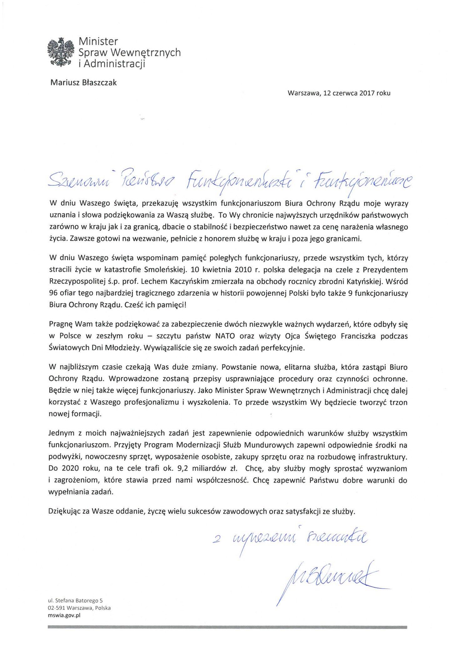 List Mariusza Błaszczaka do BOR (fot.twitter.com/MSWiA_GOV_PL)