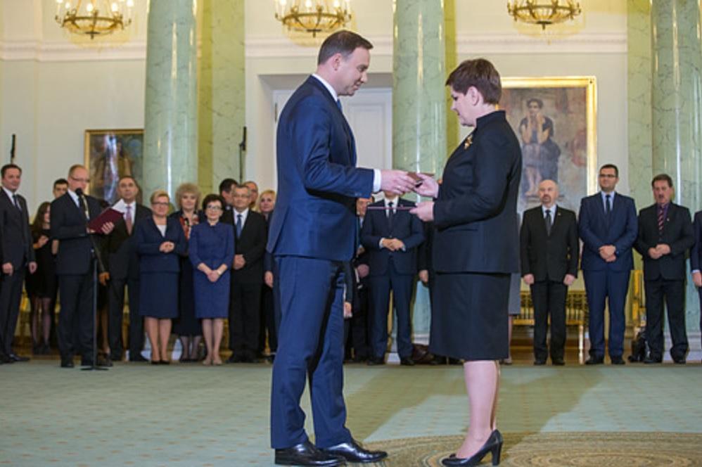 13 listopada 2015 r. prezydent Andrzej Duda desygnował Beatę Szydło na premiera (fot.prezydent.pl)