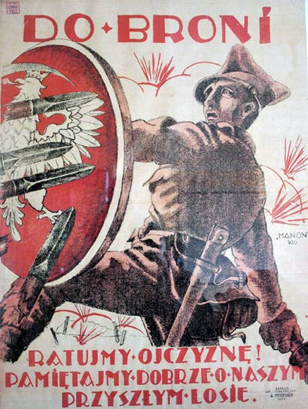 Plakat rekrutacyjny Wojska Polskiego z 1920 r, z okresu wojny polsko-bolszewickiej. (fot. wikimedia.org/domena publiczna)