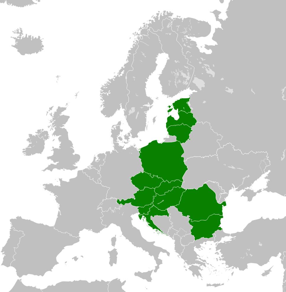 Kraje Europy wchodzące w skład inicjatywy Trójmorza. (fot. wikimedia.org/CC)