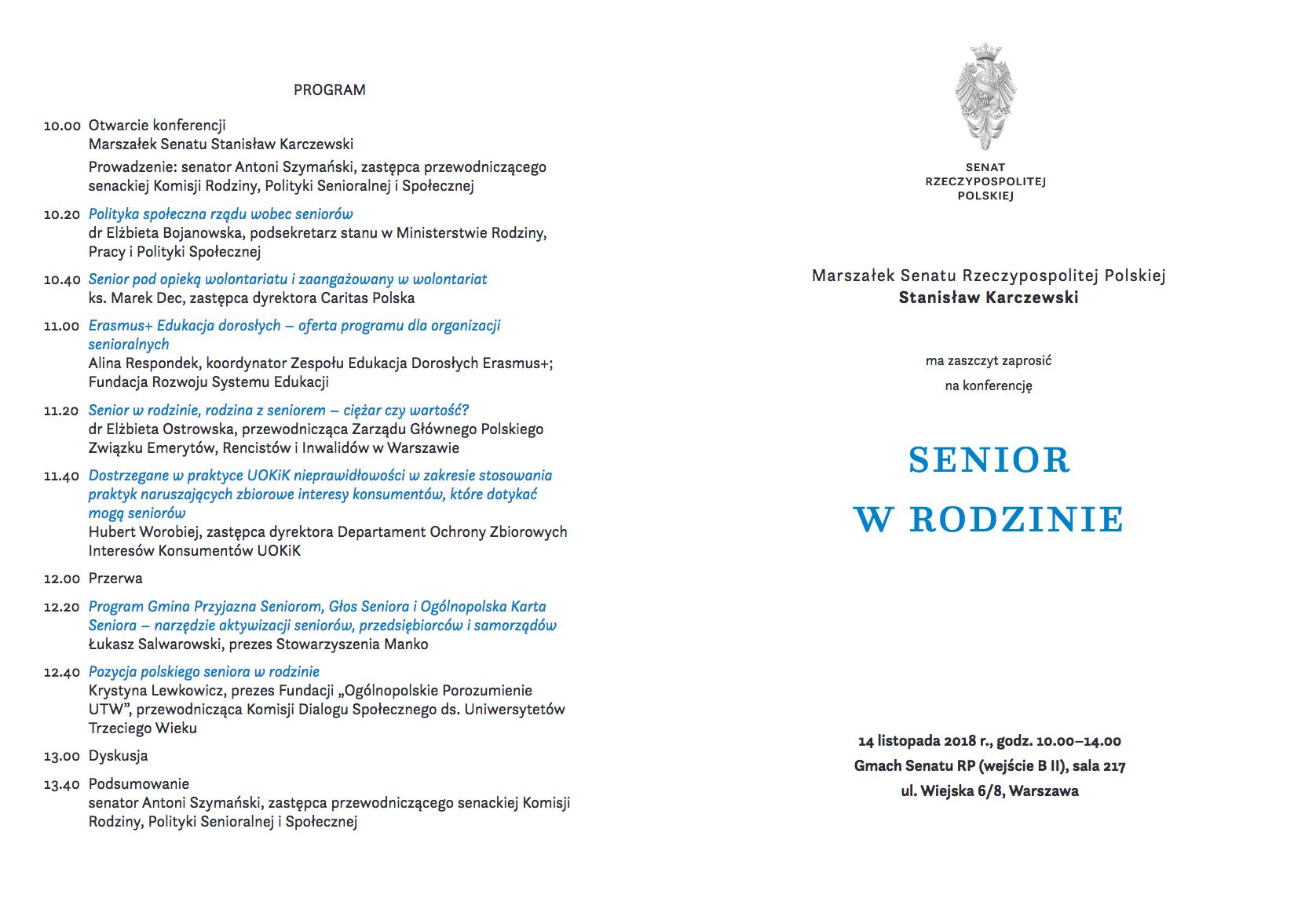 Program konferencji zapowiedzianej na 14 listopada w Senacie (źródło: Senat RP/senat.gov.pl)