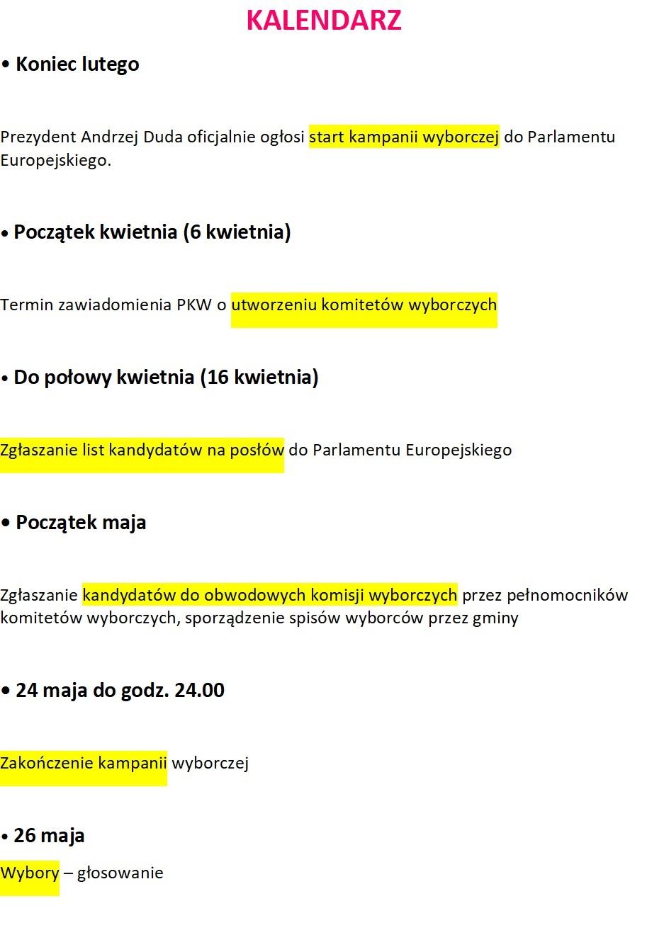Kalendarz wyborczy PE (fot.AT)