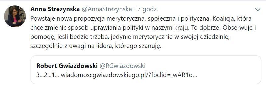 Gotowość zaangażowania się w nowy projekt wyraziła Anna Streżyńska, była minister cyfryzacji.