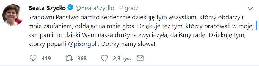 Beata Szydło zyskała w wyborach do Parlamentu Europejskiego ponad 470 tys. głosów – najwięcej spośród wszystkich startujących.