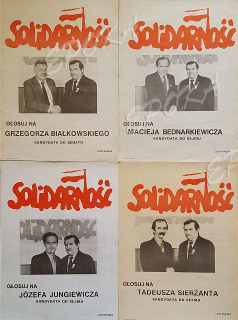 Plakaty wyborcze obozu opozycyjnego przygotowywane na 4 czerwca 1989 r. Charakterystyczne dla nich jest, że poparcia udzielał kandydatom Lech Wałęsa, ówczesny lider opozycji antykomunistycznej. (fot. wikipedia.org/CC)
