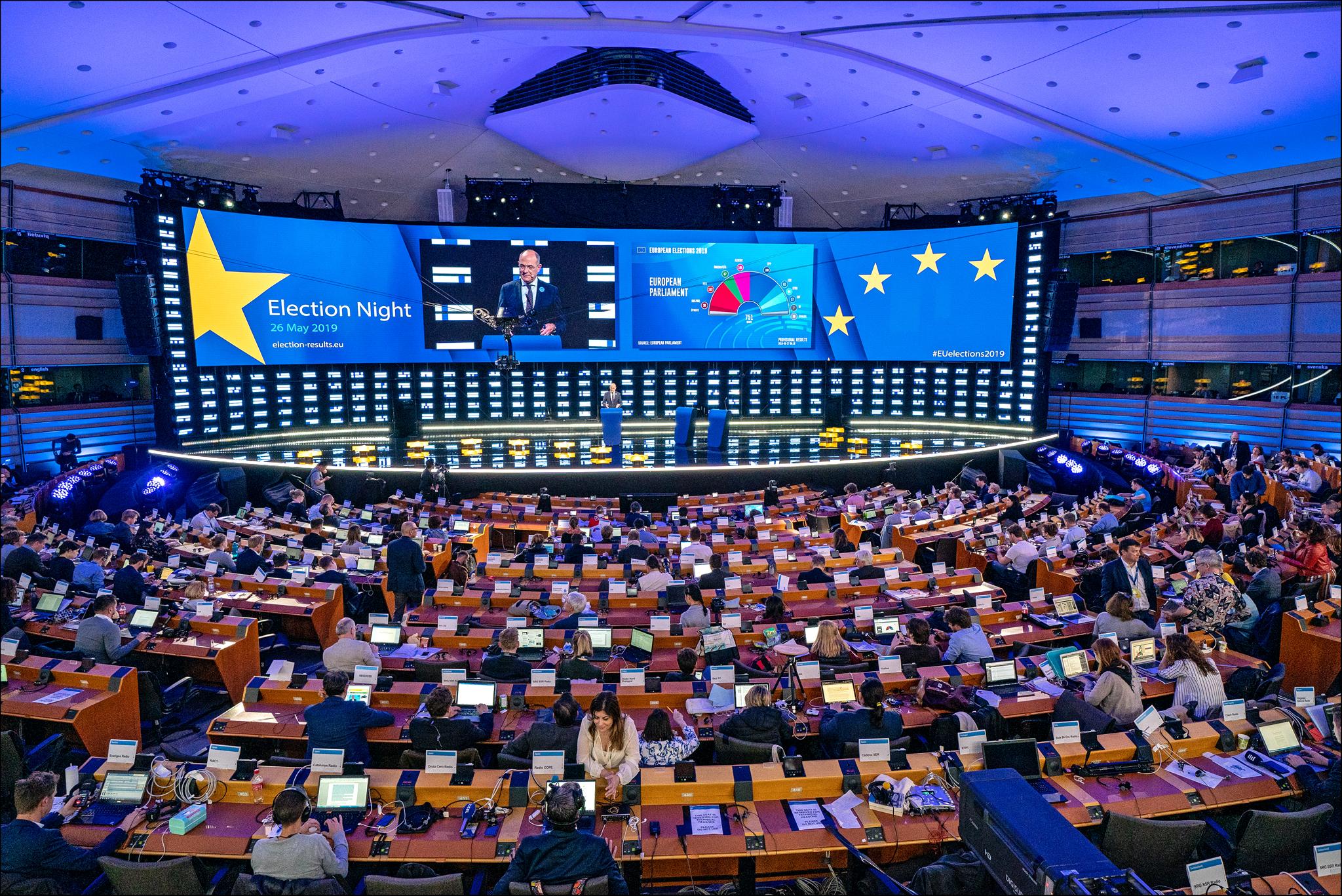 Europarlament w noc wyborczą w maju 2019 r. (fot. CC-BY-4.0: © European Union 2019 - Source: EP)