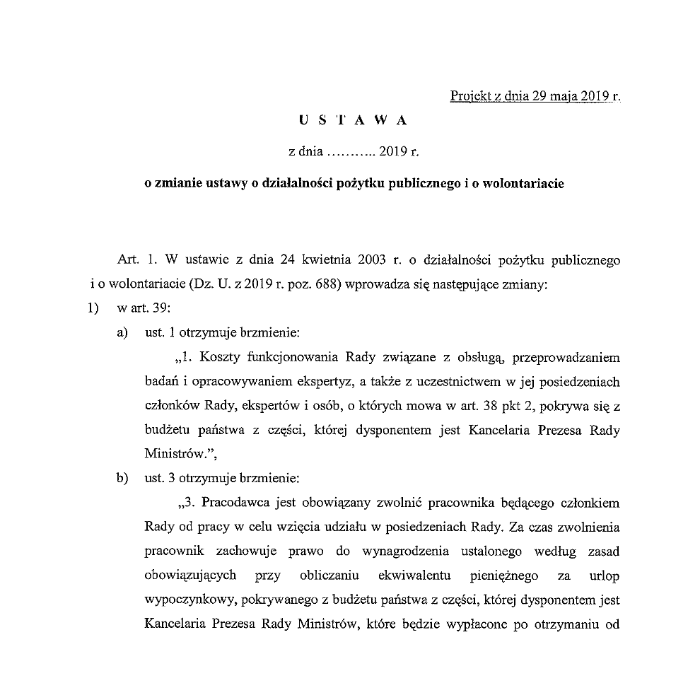 Projekt nowelizacji Ustawy o działalności pożytku publicznego i o wolontariacie, w którym wprowadza się do jej treści rozdział 5. odpowiedzialny za Radę dialogu z młodym Pokoleniem (źródło: legislacja.rcl.gov.pl)