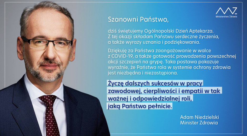 Minister zdrowia złożył życzenia z okazji Ogólnopolskiego Dnia Aptekarza